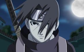 Picture moon, sword, blood, logo, hitman, Naruto, man, ken, blade, sharingan, Uchiha Itachi, assassin, hero, Akatsuki, …