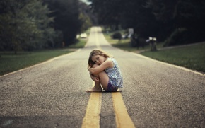 Picture road, mood, girl