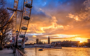Picture the sun, clouds, sunset, city, the city, river, England, London, Ferris wheel, sunset, London, The …