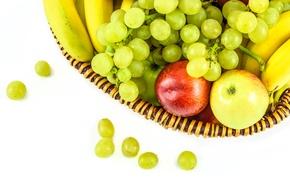 Picture basket, apples, grapes, fruit, banana