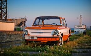 Picture machine, auto, retro, Wallpaper, ship, USSR, wallpaper, classic, cars, sailors, ZAZ, Zaporozhets, 968, constipation
