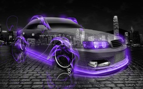 Picture Neon, Fire, City, Flame, Toyota, Fire, Night, Violet, Toyota, JDM, JZX100, Chaser, Chayzer, Crystal, el ...