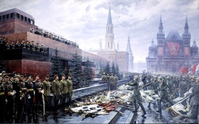 Wallpaper picture, May 9, victory day, soldiers, the Kremlin, flags, red square