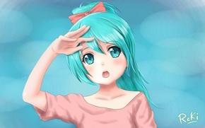 Picture girl, background, hand, art, vocaloid, hatsune miku, bow, ponytail, the reki, h