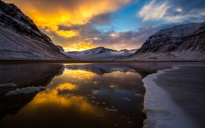 Picture cold, ice, clouds, snow, sunset, mountains, lake