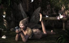 Picture look, rendering, dragon, wings, fairy, lies