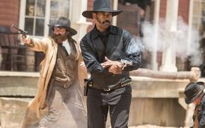 Wallpaper frame, hat, revolver, shootout, Western, Denzel Washington, Denzel Washington, The Magnificent Seven, The magnificent seven