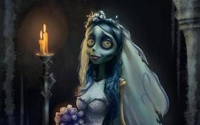 Picture bouquet, candles, dress, the bride, Corpse Bride, Corpse Bride