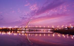Picture sunset, bridge, Taiwan
