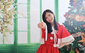 Wallpaper girl, joy, smile, background, holiday, tree, finger, Asian