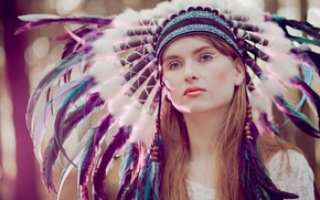 Picture look, girl, face, feathers, headdress