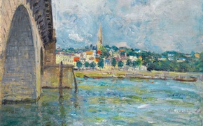 Picture the sky, clouds, bridge, the city, river, picture, Alfred Sisley