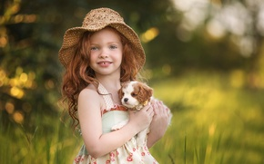 Picture girl, dog, redhead