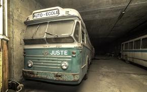 Picture background, garage, bus