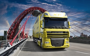 Picture Truck, Bridge, DAF, The trailer, Ixef, DAF, 105, XF105, Tractor, Wallpaper, Wallpapers
