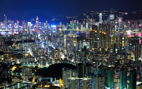 Picture light, night, the city, building, home, Hong Kong, skyscrapers, the evening, China, Asia, tall, Hong ...