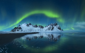 Picture mountains, night, Northern lights, Iceland, Stones
