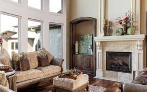 Picture design, sofa, fireplace, decor