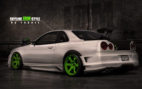 Picture style, tuning, ass, nissan, helmet, skyline, style, Nissan, gt-r, r34, back, skyline, JDM, by robert