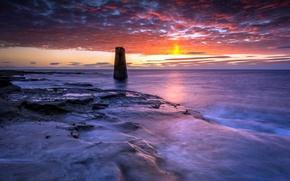 Picture sea, landscape, sunset, St Marys navigation marker