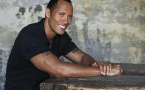 Wallpaper black t-shirt, smile, male, Dwayne Johnson