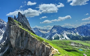 Picture the sun, clouds, mountains, rocks, Alps, Italy, panorama, Gardena