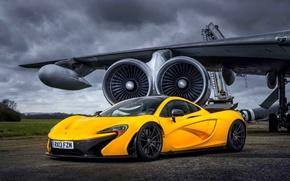 Picture McLaren, Yellow, The plane, Machine, McLaren, Supercar, Yellow, The airfield, Supercar