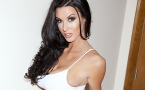 Picture chest, look, girl, model, hair, brunette, topic, sexy, Alice Goodwin, Alice Goodwin