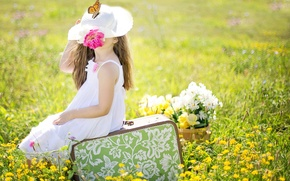 Picture field, summer, flowers, nature, collage, butterfly, hat, girl, suitcase, child, sundress