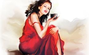 Picture girl, coffee, mug, sitting, red dress, Tatiana Nikitina
