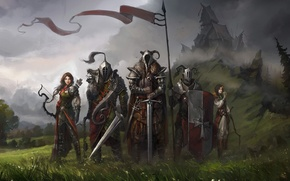 Picture field, art, warriors, banner