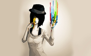 Picture paint, Girl, hat