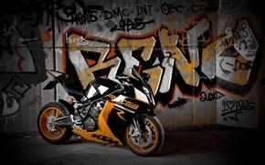 Picture wall, black, motorcycle, black, bike, graffiti, ktm, supersport, Supersport, rc8 r