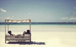 Picture ships, mood, island, beach, sea, mood, Philippines, boracay, girls, landscape