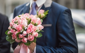 Picture flowers, roses, bouquet, the groom, wedding