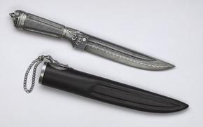 Wallpaper metal, inlay, knife, chain, sheath