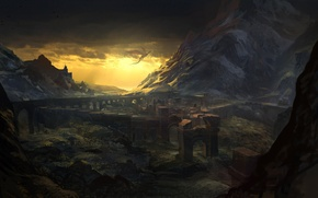 Picture landscape, mountains, rocks, dragon, ruins, arch, the witcher 2, the Witcher 2