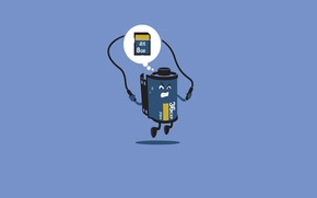 Picture blue, background, minimalism, jump rope, USB flash drive