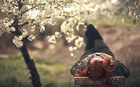 Picture girl, spring, garden, bench