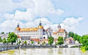 Picture the city, castle, figure, Germany, Bayern, watercolor, Neuburg