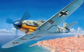 Picture war, art, painting, aviation, ww2, Messerschmitt Bf-109