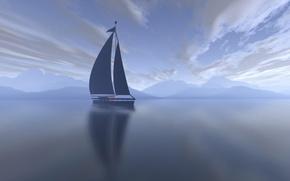 Wallpaper sea, clouds, morning, yacht, sail, Landscape
