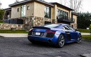 Picture Audi, Blue, House, Blue, V10, Supercar