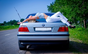 Picture road, greens, auto, girl, Girls, BMW, blonde