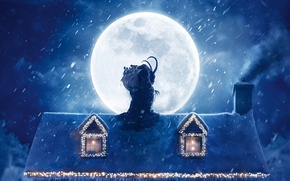 Picture roof, snow, decoration, night, house, the moon, toys, smoke, window, Christmas, moon, The demon, Horns, …