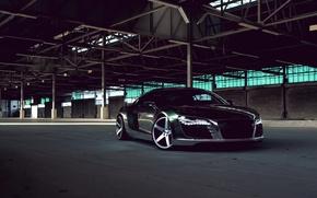 Picture Audi, Audi, Lights, Drives, Chrome, Sports car, Matte Black, CW-5
