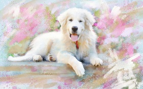 Picture figure, dog, picture, white, painting, strokes, drawn, happy, pastel colors, Wallpaper from lolita777