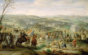 "Picture oil, picture, canvas, ""The battle of White Mountain near Prague"", Peter Snayers, Flemish painter"