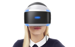 Picture girl, blonde, white background, helmet, Sony, PlayStation 4, Playstation VR