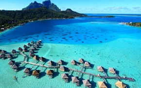 Picture resort, french polynesia, bora-bora, tahiti, water villas, bungalows
